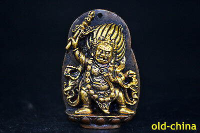 Collectible Old Tibet Copper Buddhism Black Warrior Buddha Statue Pendant