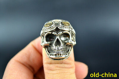 Vintage Collectible handwork Old Tibet Silver Skull Totem Ring