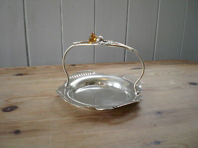 Vintage Scottish Style Silver Plated With Citrine Gemstone Bon Bon Dish