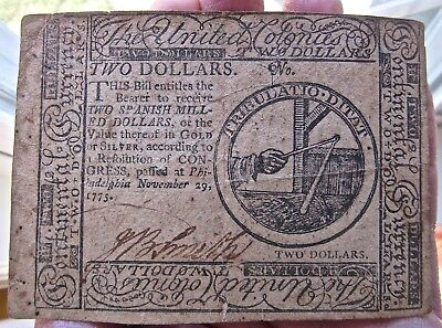 1775 TWO DOLLARS antique COLONIAL CURRENCY usa PAPER MONEY us SPANISH MILL gold