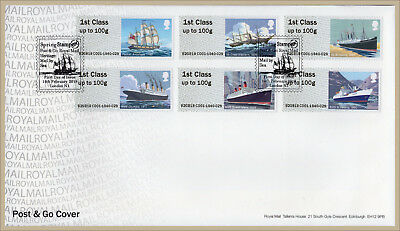 2018 ROYAL MAIL HERITAGE TRANSPORT MAIL BY SEA POST & GO FDC Stampex Handstamp