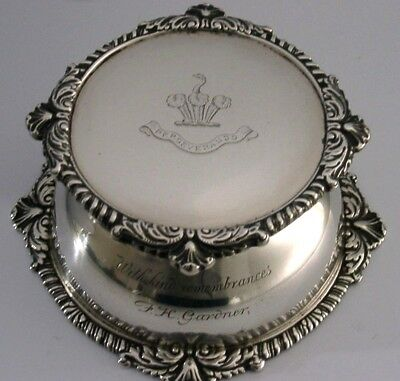 SUPERB LARGE STERLING SILVER CRESTED INKWELL 1899 550g VERY INTERESTING