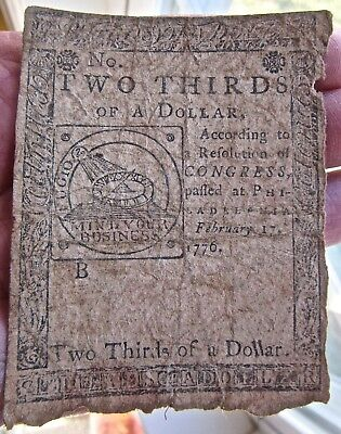 1776 TWO THIRDS OF A DOLLAR antique COLONIAL CURRENCY usa PAPER MONEY us PHILAD.