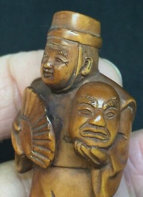 Japanese Actor With Mask Carved Wooden Netsuke Meiji Signed By Artist 50mm Rare
