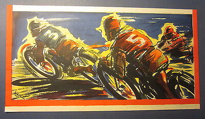 Original Old Vintage 1930's - MOTORCYCLE RACE - Poster - ART DECO - Wade