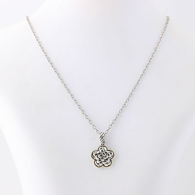 """NEW Flower Pendant Necklace 18"""" - Sterling Silver & 18k Yellow Gold"""