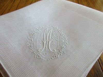 FINE VINTAGE WHITE SWISS  COTTON WEDDING HANKIE w EMBROIDERY  MONOGRAM 'M'