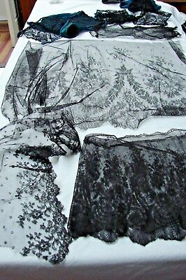 Antique Victorian Lot Of Black Chantilly Lace Panels Fabric Sleeves