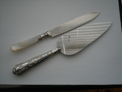 Two Vintage Mother Of Pearl 1910 And Solid Silver 1973 Handled Cake Pie Servers
