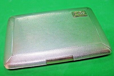 Old art deco period hall marked silver with gold metal clip cigarette card case