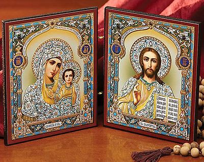 Madonna and Child Russian Diptych Icon Virgin of Kazan and Christ Jesus Gift