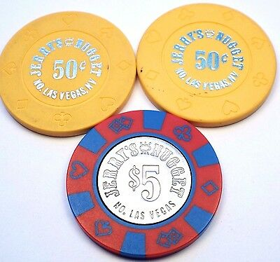 Vintage Lot of 3 JERRY'S NUGGET Casino $5 & 50c 50 cent Chips North Las Vegas NV