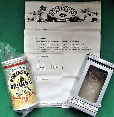 Rare Vintage Robinsons Juice Drink Can Radio - AM/FM Fully Working - 1990 Boxed