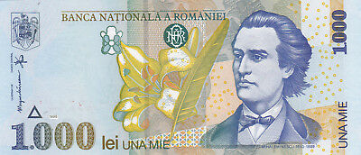1000 Lei Aunc Banknote From Romania 1998!pick-106