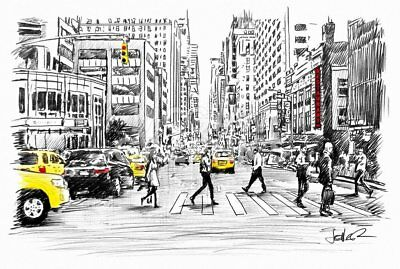 NYC ART PRINT Somewhere in New York City by Loui Jover Radio City Poster 11x14