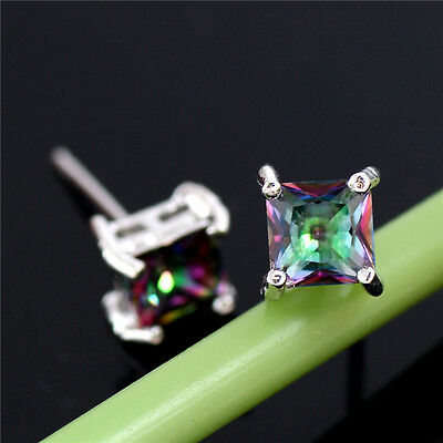 2018 1 Pair Women Silver Plated Square Cubic Zirconia Stud Earrings Jewelry Gift