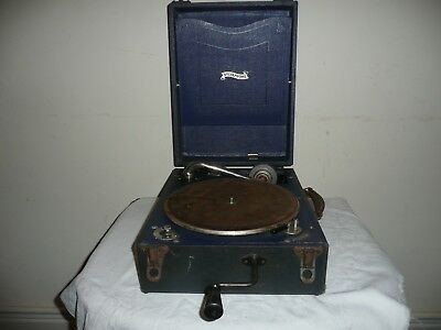 Antique Sylvaphone Portable Picnic Gramophone in Good Original Cond & Working.