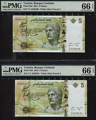 TT PK 95a 2013 TUNISIA 5 DINARS PMG 66 EPQ GEM SEQUENTIALLY NUMBERED 2 IN A ROW!