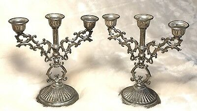 Pair Vintage Silverplate Mini Candelabra Candle Holders Ornate Aged Patina