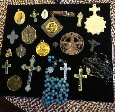 VIntage Antique Religious Medals & Other Items Lot of 25 Beautiful Items