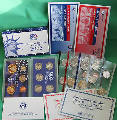 2002 Proof and Uncirculated US Mint Annual PDS 30 Coins Two Coin Sets