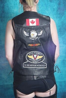 Ladies Motorcycle Vest Size 40. Victory Patch. Genuine Leather