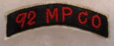 """Wwii Beautiful Theater Made 92Nd Mp Co Tab Emb Silk Fold Over Back 2 1/2""""w 3/4""""t"""