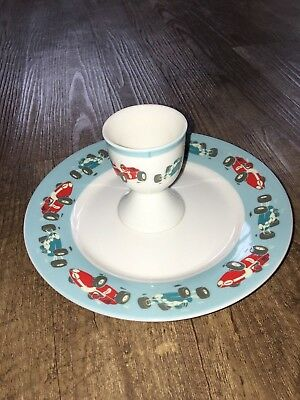 New - Cath Kidston Child's Racing Car China Plate & Egg Cup - Ideal for Easter?