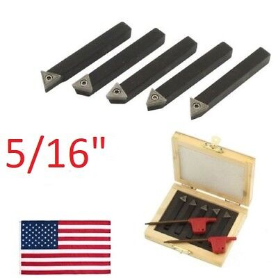 "5 pc 5/16"" Lathe Indexable Carbide Insert + Turning Tooling Bit Holder Set"