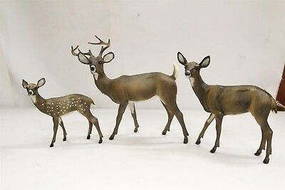 3 Breyer Mom Dad Baby White Spotted Deer Family Figurines
