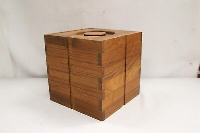 Danish Modern Kalmar Teakwood Sculptured Squared Ice Bucket Eames Era