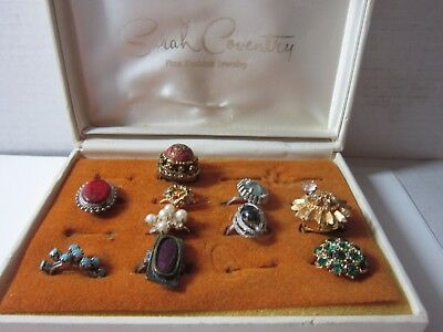 Assorted Lot Of Vintage Fashion Costume Rings Old Store Stock Jewelry