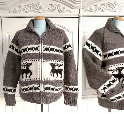 Vintage KANATA Double Deer Hand Knit Cowichan Cardigan Chunky Zip Up Sweater XL