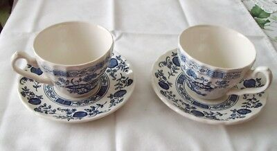 2 Myott Meakin Blue Onion Cups And Saucers Staffordshire England