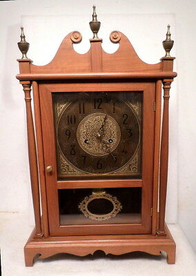 Beautiful Vintage Pillar & Scroll 8 Day Shelf Clock