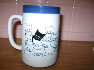 New - A Different Stoneware Cat Mug- 3 Black Cats Among 21 White cats - CUTE