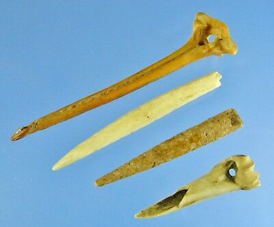 Whalens Artifacts 4 California Chumash Bone Punches Authentic Indian Relics Aaca