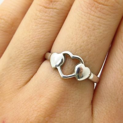 b0594ea1d96f 925 Sterling Silver Three Hearts Love Ring Size 7