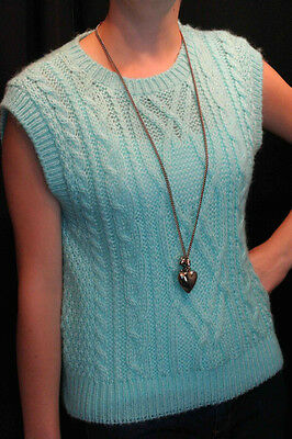 S~M TURQUOISE GREEN VTG 80s USA CABLE KNIT SWEATER VEST SLEEVELESS TOP THAT'S ME