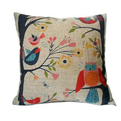 Retro Cute Birds on Tree Sofa Bed Home Decoration Pillow Case Cushion Cover