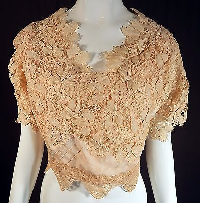 Vintage Edwardian Antique Cream Lace Ivory Silk Damask Wedding Bodice Blouse Top