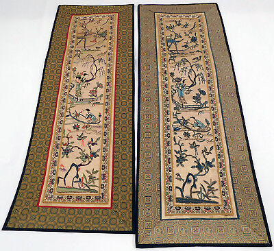 Antique Chinese Forbidden Stitch Silk Embroidery Robe Sleeve Band Cuff Pair Vtg