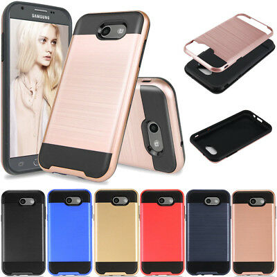 For Samsung GALAXY J7 2017/J7 V/J7 Sky Pro/J7 Perx/Halo Brushed Armor Case Cover