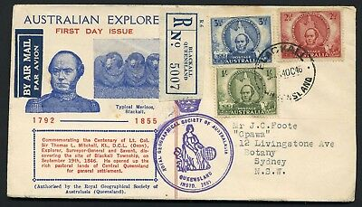 Australia 1946 Mitchell set - registered Geographical Society FDC
