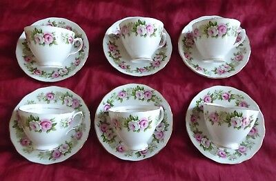 X 6 Vintage Colclough bone  china Pink  roses cups and saucers