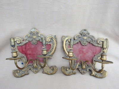 Pair Of Antique Wood Backed Repousse Brass Rococo Style Wall Sconces