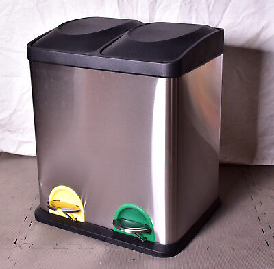 HOME 30 Litre Recycling Pedal Bin with 2 Compartments Stainless Steel (A)