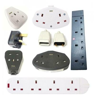 Rubber Extension Lead Plug Socket 1 2 4 Gang 13 Amp Multi Purpose 13A Plastic