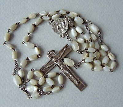 ancien chapelet NACRE  complet 59 grains  old rosary  MOTHER OF PEARL