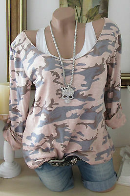 New 2TLG Shirt Top Camouflage Army Military Style Lurex Edges Rosa 36 38 40